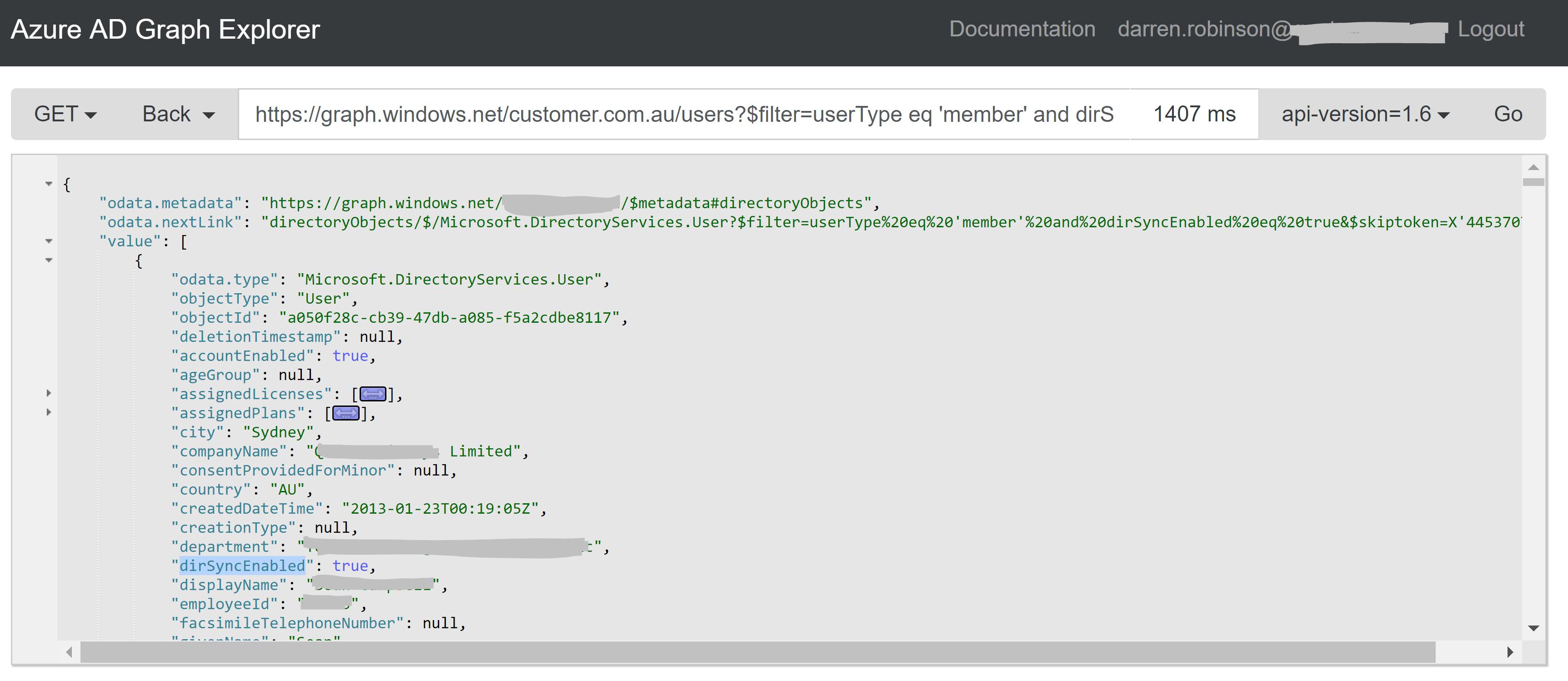 Azure AD v1 Graph Filter Tester.PNG