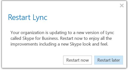 Restart Lync to see new Skype UI