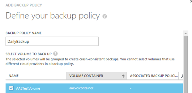 Defining a backup policy on a StorSimple