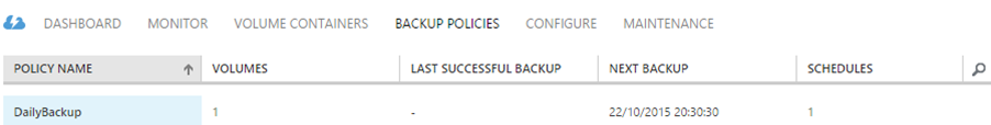 Backup policies tab for a StorSimple