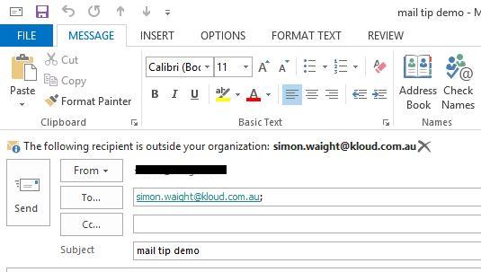 Outlook - External Recipient Warning
