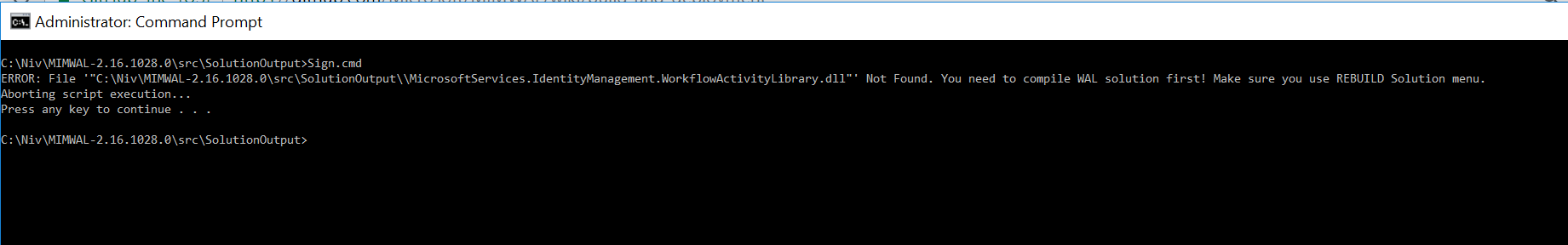 Error rebuilding MIMWAL - File MicrosoftServices