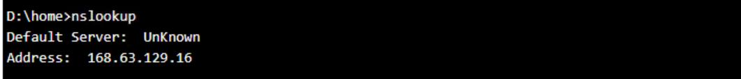 nslookup result