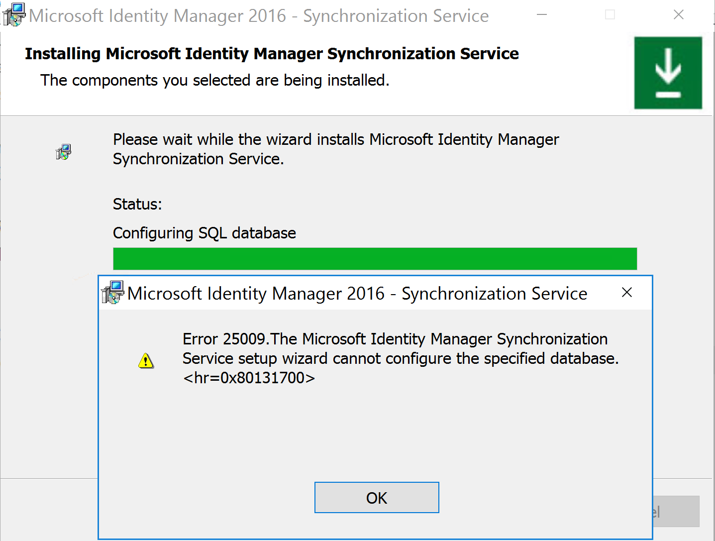 FIM Sync Server Installation Failed Configurating SQL.PNG